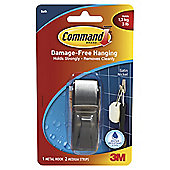 Command Satin Nickel Bathroom Hook 1pk