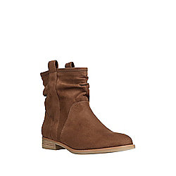 F&F Faux Suede Slouch Ankle Boots Adult 06 Chestnut