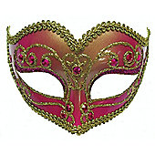 Jewelled Party Mask Fuschia On Headband