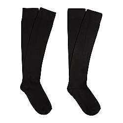 F&F 2 Pair Pack of Knee High Socks One Size Black