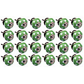 Ceramic Cupboard Drawer Knobs - Polka Dot Design - Green / White - Pack Of 24