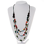 3 Strand Multicoloured Bead Leather Cord Necklace