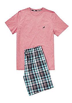 F&F Checked Shorts Loungewear Set - Pink