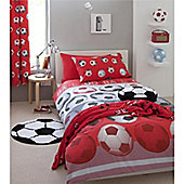 Catherine Lansfield Home Kids Football Double Bed Duvet Cover set Red