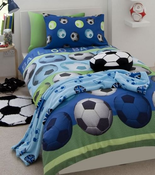 Catherine Lansfield 'Football' Blue Fc Panel Double Bed Duvet Quilt Cover Set