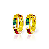 QP Jewellers 1.28ct Gemstone Hoop Huggie Earrings in 14K Gold