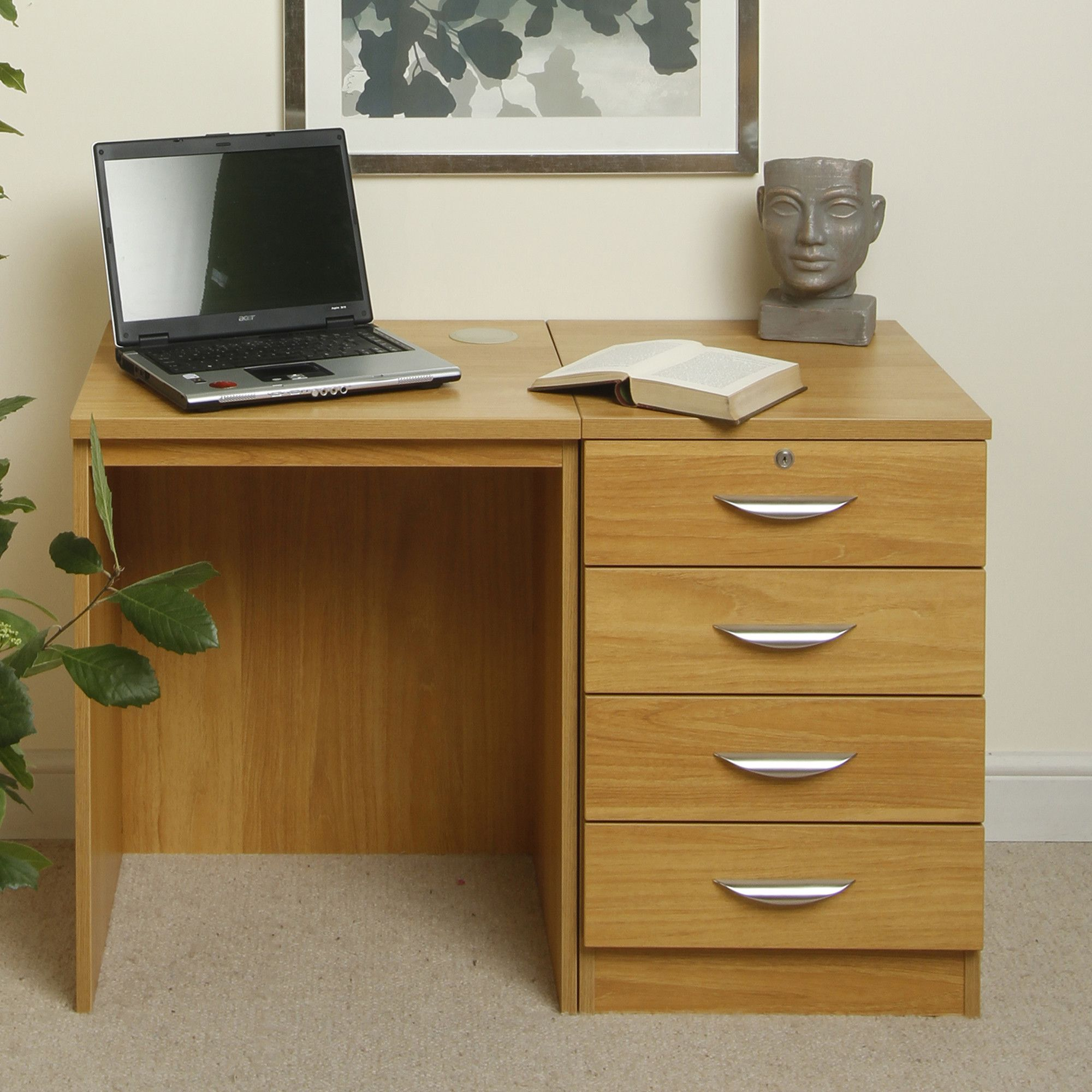 Enduro Home Office Desk / Workstation with Four Drawer - Walnut at Tesco Direct