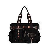 Banned Steampunk Black Shoulder Bag 38x28x11cm