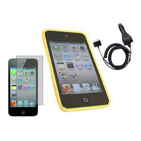 Yellow ProGel Case, LCD Screen Protector, Car Charger - Apple iPod Touch 4G