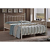 Ivory Shell Detailed Metal Bed Frame - King Size 5ft