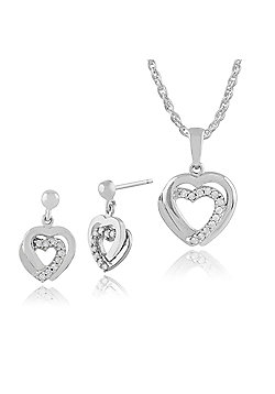 Gemondo 9ct White Gold Diamond Hearts Drop Earrings & 45cm Necklace Set