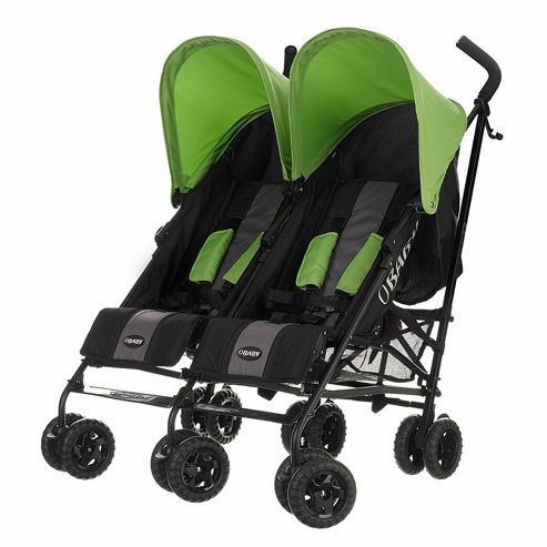 Obaby Apollo Black & Grey Twin Stroller, Lime