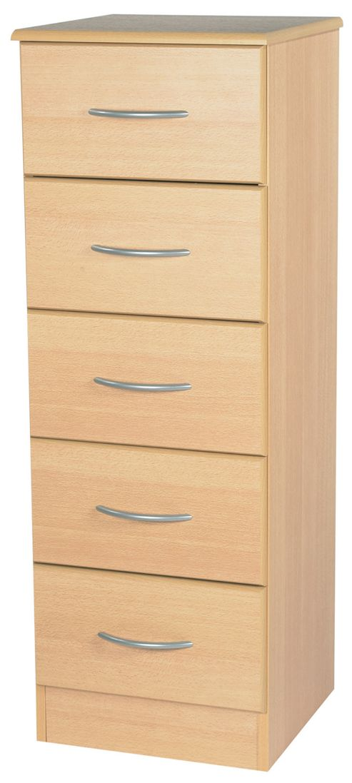 Welcome Furniture Avon 5 Drawer Chest with Locker - Light Oak
