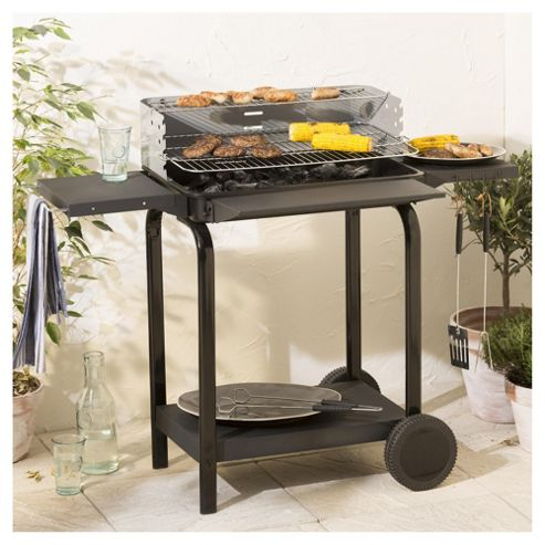 Tesco 58x37cm Rectangular Trolley Charcoal BBQ