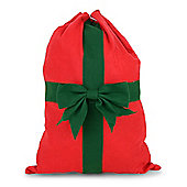 Red Draw String Santa Sack Christmas Gift Bag with Large Green Bow Detail