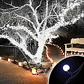 100 Connectable Ice White LED Globe Lights on Rubber Cable