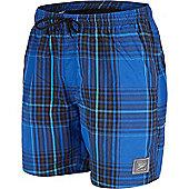 Speedo Mens Yarn Dye Check Shorts - Blue