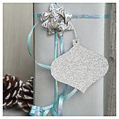 TESCO 6 PACK TAGS SILVER GLITTER