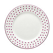 Nina Campbell Single Bone China Tea Plate, Pink Hearts Design