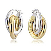 Jewelco London 18ct White and Yellow Gold White and Hoops Earring
