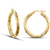 Jewelco London 9ct Yellow Gold 3mm hoop Earrings with textured stripe design