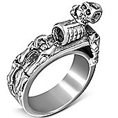 Urban Male Men's Stainless Steel Laying Skeleton Band Ring 8mm