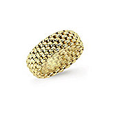 Jewelco London Gilded Sterling Silver Flexi Fit Watch Link Ring Size