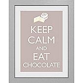 Keep Calm and Eat Chocolate Framed Print, 30x40cm