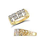 Jewelco London 9ct Solid Gold CZ set Mum Ring with basket style shoulders