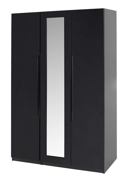 Alto Furniture Visualise Orient Three Door Wardrobe in High Gloss Black