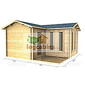 13ft x 13ft (4m x 4m) Garden Log Cabin - Double Glazing (70mm Wall Thickness)