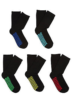 F&F 5 Pair Pack of Chevron Sole Ankle Socks - Black
