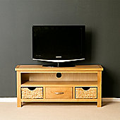London Oak 110Cm TV Stand with Baskets - Lacquer Finish