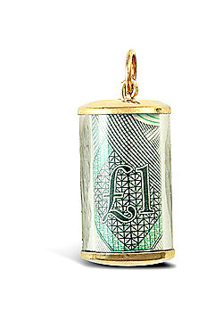 Jewelco London 9ct Yellow Gold 1 (one pound) note Pendant with plastic casing
