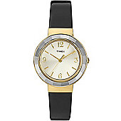 Timex Ladies Wms Faceted Crystal Blk Patent Watch T2P199
