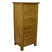 Oakland Chunky Oak 5 Drawer Tall Chest Of Drawers