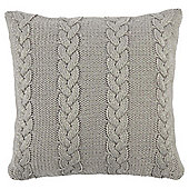 Cable Knit Cushion Grey
