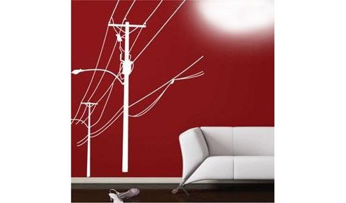 Electricity Pole Wall Sticker, White