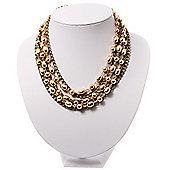 7 Strand Gold Tone Chain And Bead Choker Necklace