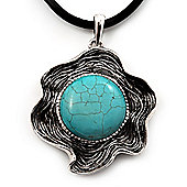 Burn Silver Turquoise Flower Pendant On Leather Cord - 40cm Length