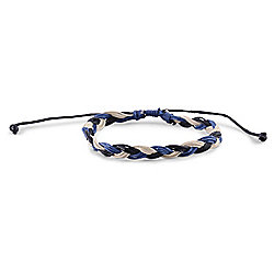 Urban Male Men's Three Colour Woven Cord Bracelet Adjustable Size