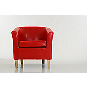 Kendal Bicast Leather Tub Chair Red