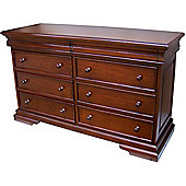 Lock stock and barrel Mahogany Louis Philippe Sleigh Style 6-8 Drawer Low Wide Chest in Mahogany - Wax Polish