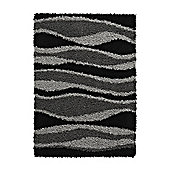 Think Rugs Vista Black/Grey Shaggy Rug - 160 cm x 220 cm (5 ft 3 in x 7 ft 3 in)