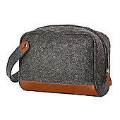 Zone Denmark Craft Mens Felt and Leather Toiletry Bag in Dark Grey