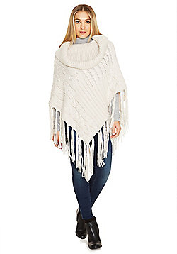 F&F Cable Knit Tassel Poncho - Cream