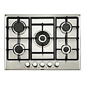 Beko HIMW75225SX 70cm Wide Five Burner Gas Hob With Cast Iron Pan Stands Stainless Steel