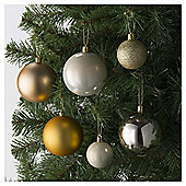 Festive Shatterproof Bauble Pack, Gold Mix, 94 Piece