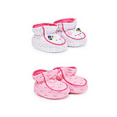 Mothercare Baby Newborn Girl's Mouse and Bow Print Booties - 2 Pack