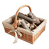 Traditional Style Wicker Log Basket, Hessian lined with Single Handle